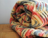 Vintage Afghan Blanket - Chevron Zig Zag Yellow Grey Coral Crochet Colorful Knit Throw - labiblioteca