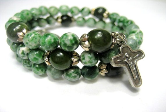 Rosary Bracelet - Green Tree Agate, Jade, Compassion & Holy Spirit Medal, Five Decade, Memory Wire, Rosary Bracelet by Belladonna's Shoppe