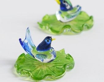 Set of Two Glass Birds & Waterlily Leaf