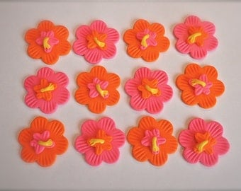 Tropical Flower Edible Fondant Cupcake Topper Decoration - Great for Summer Parties and Luaus