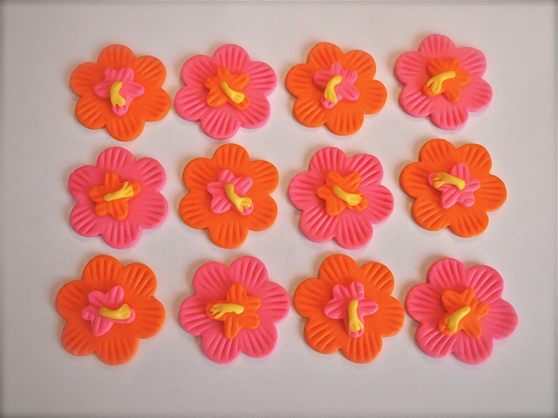 Tropical Hibiscus Flower Fondant Cupcake Topper Decoration