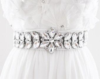 TESSA - Rhinestone Encrusted Bridal Belt, Bridal Sash