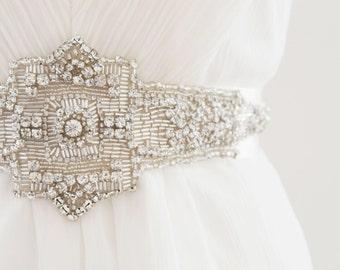 JADA - Rhinestone Encrusted Bridal Sash, Wedding Belt