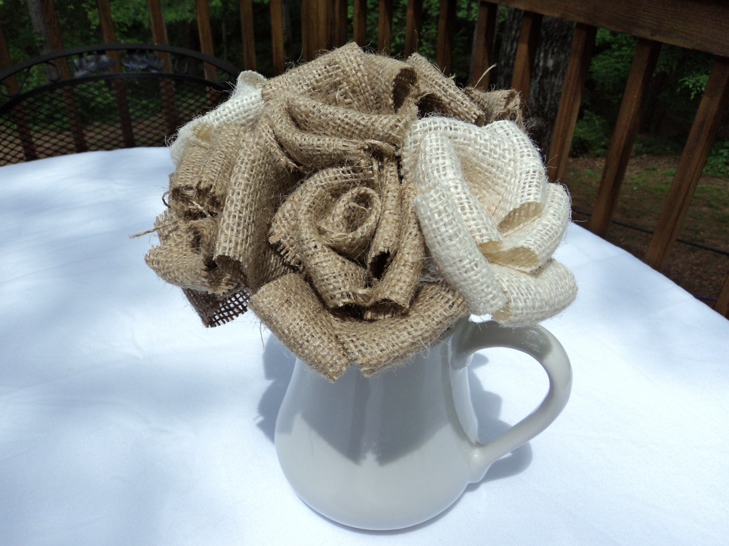 Individual Burlap Flowers on Stems Rustic by theruffleddaisy