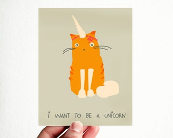 I wanna be a Unicorn Funny Card 3,5x4,5 inch Motivational Modern Typography Natural Rustic Red Tau