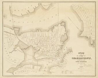 1848 Map of Charlestown, Massachusetts