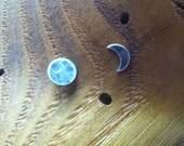 Moon phase Earrings, 1 crescent & 1 full moon, sterling silver studs