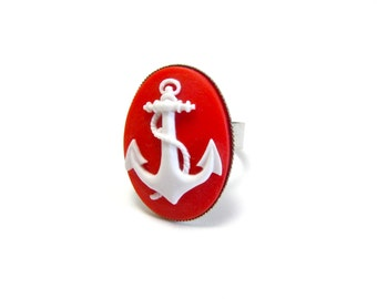 Red Anchor Ring - Nautical Accessory - Maritime Cameo Jewelry - Boat - Ship