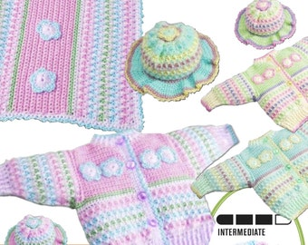 Instant Download 228 Toddler Cardigan and sun hat  & blanket Crochet Pattern- PDF - Cardy Coat hat - Instant Download