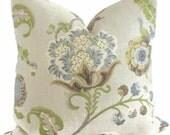 Kravet Green and Grays Jacobean Floral Decorative  Pillow Cover Square or lumbar pillow - throw pillow, accent cushion, Eurosham pillow