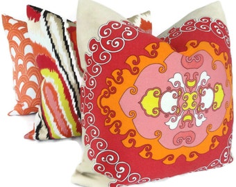 Pink and Orange Trina Turk Super Paradise Indoor Outdoor Decorative Pillow Cover, Schumacher, 20x20, 22x22, 24x24