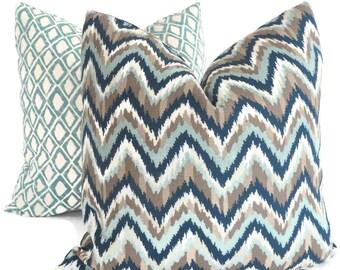Nate Berkus Aquamarine, Blue and Tan Chevron Decorative Pillow Cover, 18x18, 20x20, 22x22 or lumbar pillow, Accent Pillow, Throw Pillows,