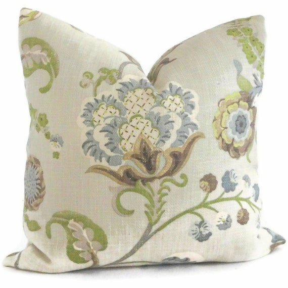 Kravet Green And Grays Jacobean Floral Decorative Pillow