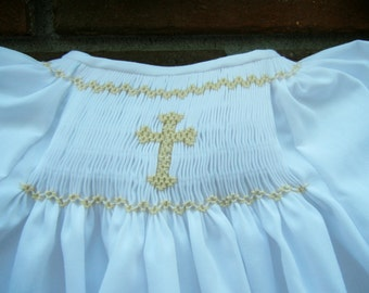 White Newborn Daygown Smocked with a Cross