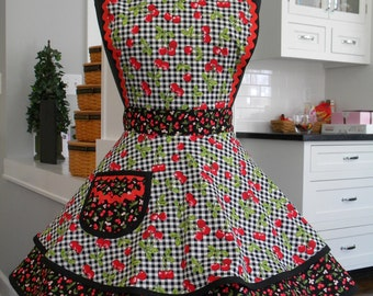 Womens Apron-Cherries Delight Flounce Apron