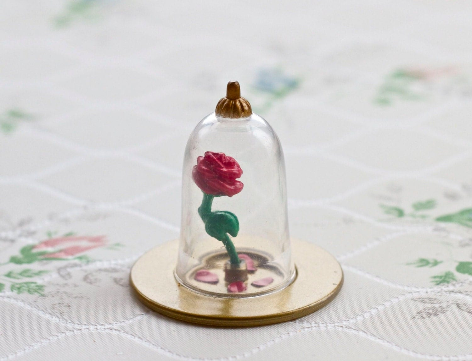 teeny weeny captive rose flower in glass dome beauty and. Black Bedroom Furniture Sets. Home Design Ideas
