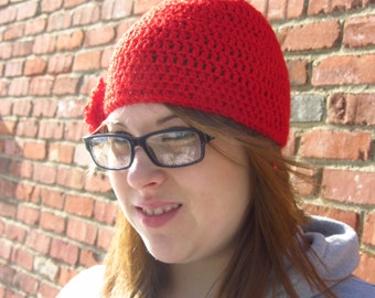 NEW MARKDOWN - Bright Cherry Red Women's Hat with Flower - Large