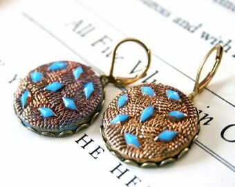 Funky Turquoise & Gold Vintage Glass Earrings || Turquoise Earrings, Boho Earrings, Bohemian Earrings, Beachy Earrings
