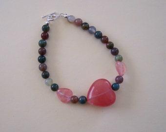 Handmade Valentine 3 Hearts Rose Quartz Jasper Beaded Bracelet by Hidden Bear