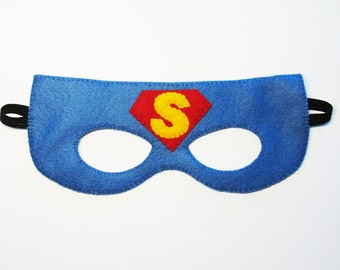 Superman felt mask (2-10 years) - Blue Red Yellow - Superhero kids party soft accessory for boys girls - fun Dress up Pretend School play