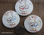 Easter Spring Chick and Bunny Ornament Colorful on White Hand Stamped and Cut