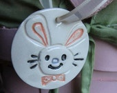 Easter Bunny Ornament Fun and Colorful on White Hand Stamped and Cut