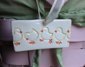 Easter Spring Chicks Ornament Fun on White Kiln Fired Clay Hand Stamped and Cut