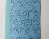 Hand bound Blue cupcake A5 blank note book or journal
