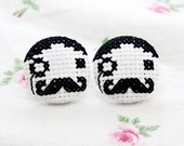 Cross stitch gentlemen earrings