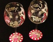 Custom Hand Painted Wine Glasses Sorority Themed Greek Letters Mascot