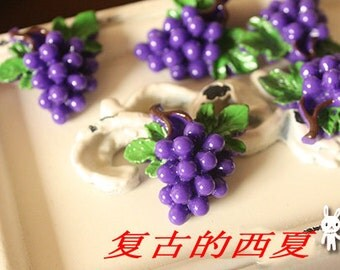 10pcs cute fresh  purple grape with green leaves pattern resin buttons