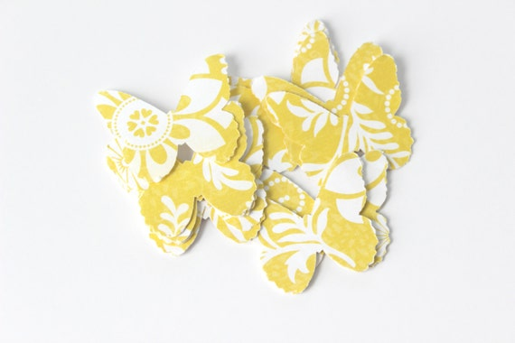 Bright Yellow Butterfly Die Cuts - Spring Floral