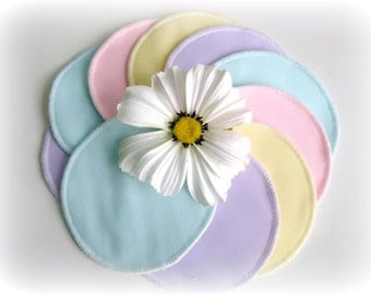 DISCOUNT - Nursing pads - Five sets - One of each color - Organic Bamboo Velour and PUL - Ready to ship