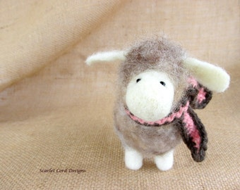 Felted Sheep in Wool Scarf, Needle Felted Animal,Sheep Soft Sculpture, Plush Lamb, Natural Wooly Sheep