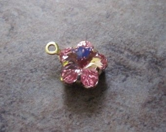 4 Drops, Swarovski crystal and gold-plated brass, light rose with foil back, 10x10mm flower fancy stone. Drops, - JD233