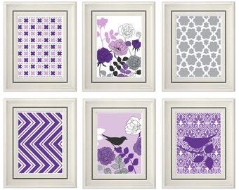 Set of Six Modern/Vintage Purple/Lilac Wall Art - 11x14 Print Set - Home Decor - For Home (Unframed)