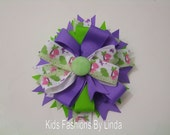 Purple and Lime Dinosaur Hairbow