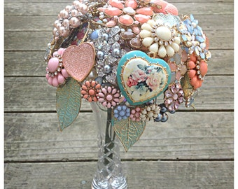 Romantic Pastel Brooch Bouquet, Perfect for a Spring or Summer Wedding