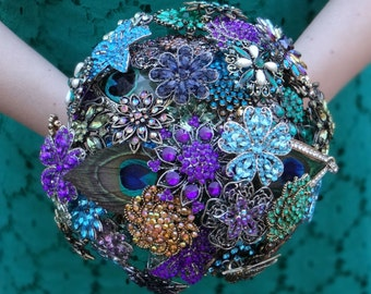 Large Peacock Brooch Bouquet - Purple, Blue, Green - Ready to Ship