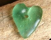 Recycled Glass, Ghana Glass Bead,  African Glass, Glass Pendant,  Large glass Heart, Blue-Green glass, Handmade Heart,  1 piece