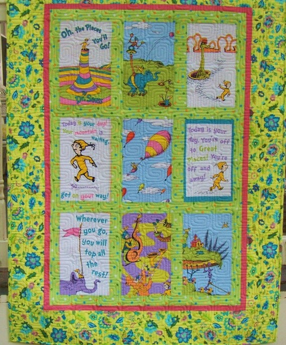 Dr Seuss Child Toddler Baby Crib Play Girl Quilt Oh The Places