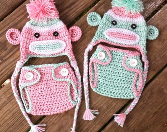TWIN Babies Newborn Pink n Green Crochet Sock MONKEYS and Matching Diaper COVERS Earflap Hat With Braids ~ Adorable Photo Prop