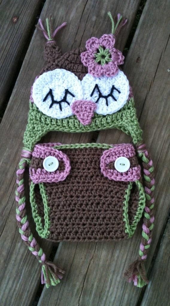 Free Crochet Owl Hat And Diaper Cover Pattern : Newborn Baby Girl Sleepy Crochet OWL Rose by ...