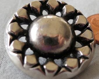 "1 Lovely vintage metal button, flower design, 1.25"" ins across. Pierced top, shank back. FLA13.3-25.4-5."