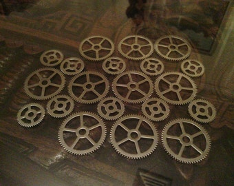 Steel Gear Mixed Set of 20 -- Steampunk and Scrapbooking Supplies