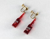 Vintage Burger Beer Bottle Red Earrings, figural plastic earrings, 1950s kitsch jewelry, screw back