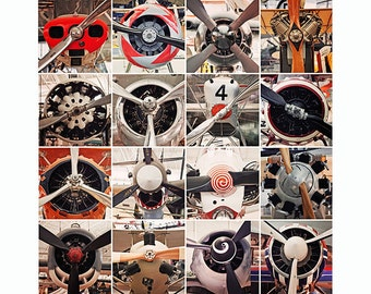 Airplane Propeller Collection Metallic Print 12x12""
