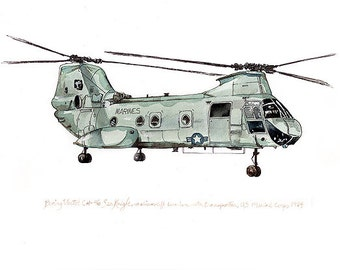 CH-46 Sea Knight, us marine aviation watercolor print, 8x10""