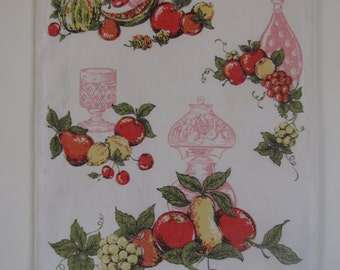Vintage White Linen Red Pink  and Red  Blue Fruit Table Runners - lot of two