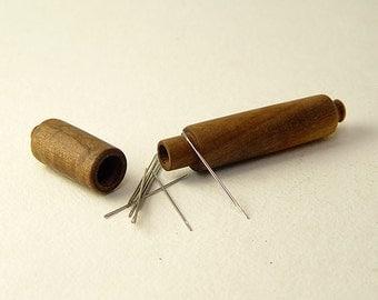 """Needle Case in Reclaimed Claro Walnut. 3/4"""" Diameter by 4 1/2"""" Long."""